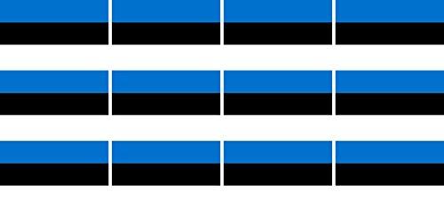 Mini Aufkleber Set - Pack glatt - 50x31mm - Sticker - Fahne - Estland - Flagge - Banner - Standarte fürs Auto, Büro, zu Hause & die Schule - 12 Stück