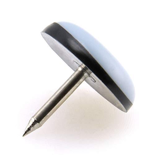 24 x Patin glisseur en teflon avec ongles - 19 mm - rond - gris - patins pour meuble