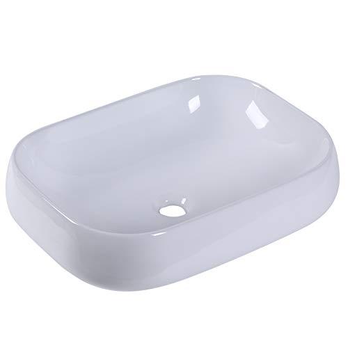 kleankin Lavabo Lavandino d'Appoggio Senza Troppopieno Rettangolare da Bagno Ceramica 56 x 42 x 14.5cm Bianco