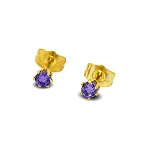 Blue Diamond Club - Tiny 9ct Yellow Gold Filled Womens Stud Earrings Girls Round Small 3mm Amethyst Crystals 6 Claws
