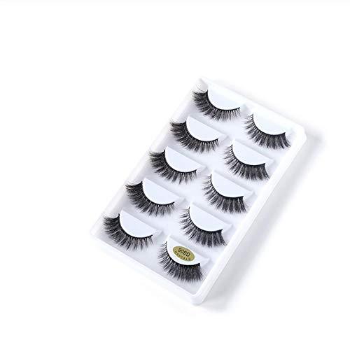ZZDJ Faux Cils Maquillage Messy Cross Fourrure épaisse Fait à la Main Faux Cils 5 Paires 3D Vraie Fourrure Faux Cils A