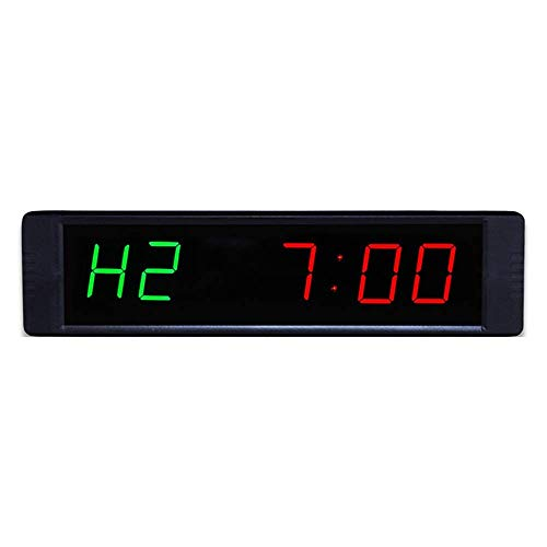 Temporizador de intervalo LED programable Reloj de Cuenta atrás Cronómetro Reloj de Pared para Fitness con Control Remoto (Color: Negro Tamaño: 21.5X2X5.5CM)