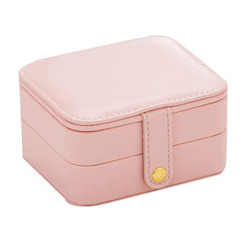 ZHUSHI Travel Portable PU Jewelry Box Pendientes Pendientes Pendientes Pulseras Adornos Multi-Capa Caja De Almacenamiento Rosa