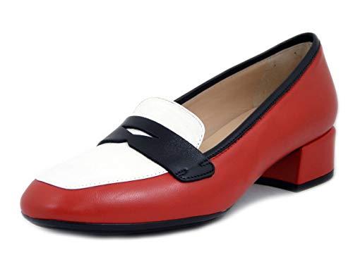OSVALDO PERICOLI, Mocasín para mujer de piel, multicolor, rojo, blanco y negro, tacón bajo, planta cómoda, fabricado en Italia Rojo Size: 37 EU