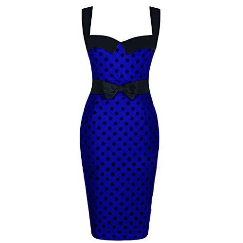 Años 50 Mujer Retro Vestido Fiesta Cóctel Rockabilly Clásico Dress De Noche Elegante Vestido De Falda Lápiz De Cadera con Estampado De Lunares, Azul Oscuro_S