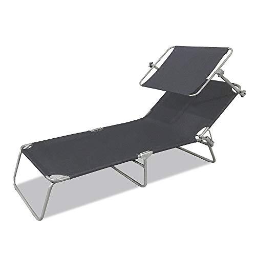 LZQ Sonnenliege Klappbar 188 x 56 x 27 cm Gartenliege Camping Liege mit Dach Liegestuhl Relaxliege Sonnendach und Rückenlehne Verstellbar - Dunkelgrau mit Dach
