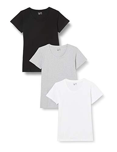 Berydale Camiseta de manga corta de mujer, con cuello redondo, pack de 3, Negro/Blanco/Gris, M