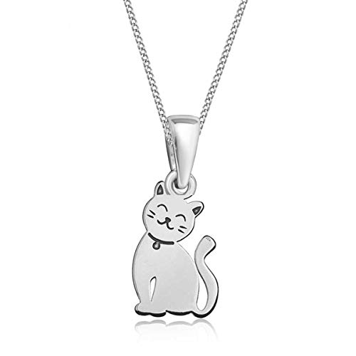 Anhänger mit Halskette Katze 925 Echt Silber Katzen Kette für Mädchen Kinder Frauen (Silber, 38)
