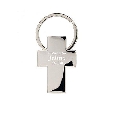 Llavero con forma de cruz para comunion, PERSONALIZADO. Pack...