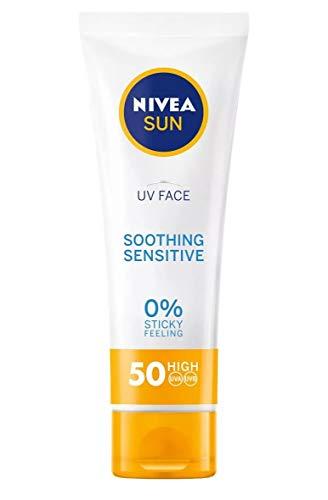 Nivea Sun UV Face Sensitive Soothing UVA/UVB, 0% sticky skin feeling sunscreen protection SPF50+, 50ml
