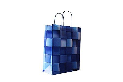 Papiertragetaschen mit Blauer Kordel Motiv: Ice Cube 22 + 10 x 28 cm (50 Stück)