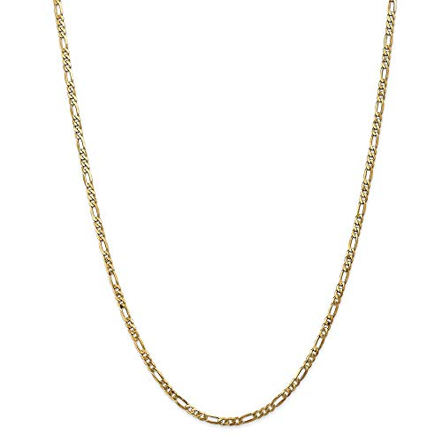14k Yellow Gold 3mm Flat Link Figaro Chain Necklace 24 Inch Pendant Charm Fine Jewellery For Women Gifts For Her