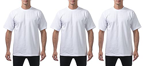 Pro Club Men's 3-Pack Heavyweight Cotton Short Sleeve Crew Neck T-Shirt, Black, 3X-Large