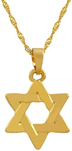 Aluyouqi Co.,ltd Colgante de Estrella de Israel, Collar de Estrella de Seis Puntas en Forma de David Rojo, joyería Dorada, Estrella judía tántrica, Sello de Salomón # 025206