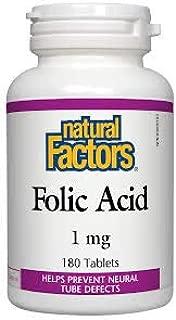 Folic Acid 1mg (180Tablets) Brand: Natural Factors