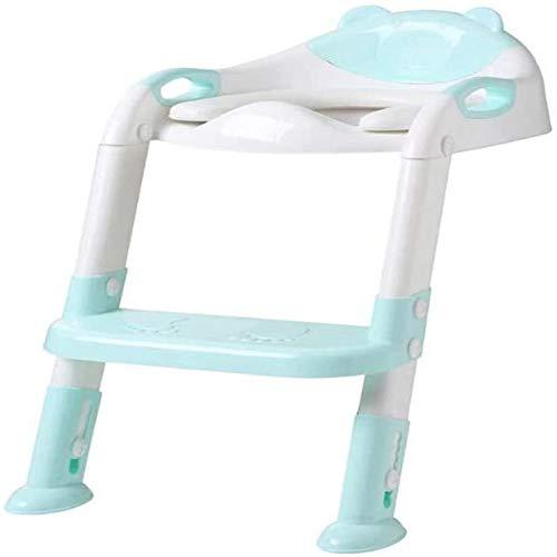 Zuoao Reducer WC Baby Toilettenstuhl Kindererziehung Sicherheit Toilettensitz mit Klappleiter Baby Toilettenstuhl Urinal Rückentraining,Green