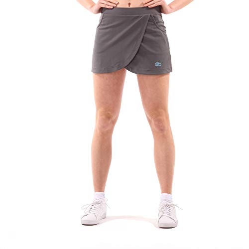 Sportkind Mädchen & Damen Tennis Skort mit Taschen in Wickeloptik, Hockey, Sport Rock mit Innenhose, atmungsaktiv, UV-Schutz, grau, Gr. 158