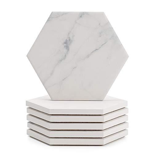 Sweese Getränkeuntersetzer Set 6 Stück Keramik Marmor Untersetzer mit saugfähigem Korkboden für Glas, Tassen