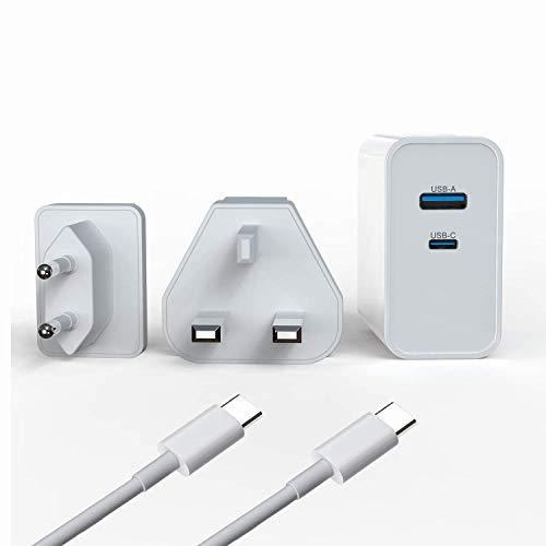 WHSTELENI 65W USB C Cargador GAN Tech para MacBook Pro 13 Huawei Matebook Lenovo ASUS HP DELL Acer Ordenador portátil Alimentación Adaptador iPad iPhone Smartphone con 1.5 m 20V 100W Cable