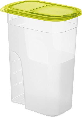 Rotho Sunshine Vorratsdose 4,1l mit Deckel und Schütte, Kunststoff (PP) BPA-frei, transparent/grün, 4,1l (20,3 x 13,5 x 27,0 cm)