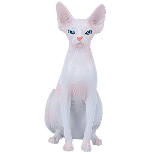 Figura de gato sin pelo Sphynx de alta simulación, juguete de modelo animal de simulación, adornos para el hogar, decoración de escritorio, juguete para niños y niños(si)