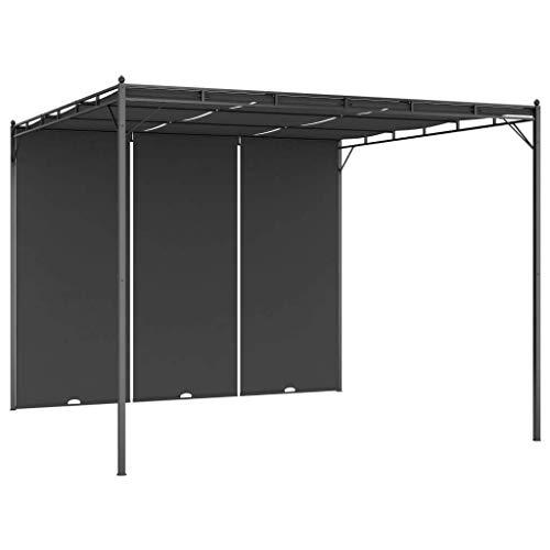 vidaXL Cenador de Jardín con Cortina Lateral Gazebo Exterior Patio Cubre Impermeable Tienda Aire Libre Camping Pabellón Quiosco Gris Antracita