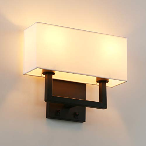 Permo 2-Lights Wall Sconce Light Fixture Black Finish with White Textile Shades and 2pcs On/Off...