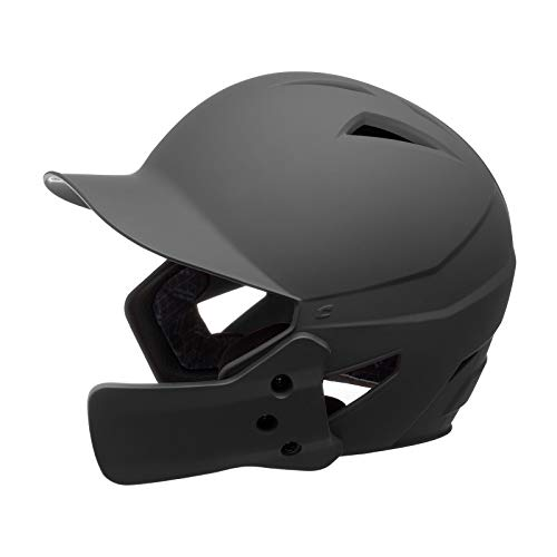 CHAMPRO HX Gamer Plus Performance Baseball Batting Helmet with Removable Jaw Guard in Solid Color Matte Finish, Black, Senior (HXMJGBS)