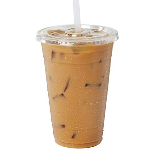 [100 Pack] 20 oz BPA Free Clear Plastic Cups With Flat Slotted Lids for Iced Cold Drinks Coffee Tea Smoothie Bubble Boba, Disposable, Large Size