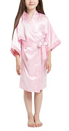 Happy Cherry - Albornoces Verano Bebé Niña Batas Pijamas Bebés Niños Satén Suave Larga Manga para Dormir Ropa Kimono Niñas con Faja Ajustable - 10-11 Años