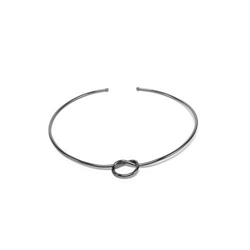 VESTOPAZZO SB1000 – Collar gargantilla rígida con nudo, chapado en plata