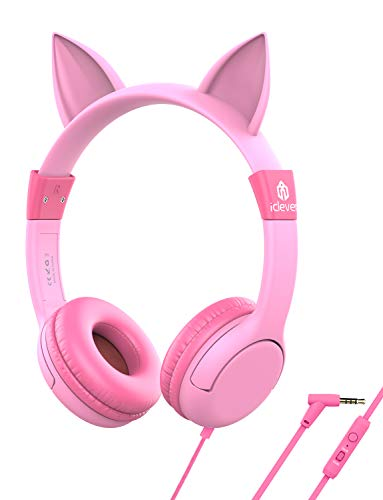 [Upgrade] iClever Boostcare Kids Headphones, Cat Ear Hello Kitty Headphones for Kids on Ear for Boys...