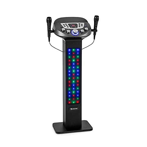 auna KaraBig Lightup MKII Equipo de Karaoke, espectáculo Multicolor LED, Soporte para Tablet, Pantalla LED, 2 Puertos USB, 40 W RMS, 480 W de Potencia máxima, Entrada y Salida de línea