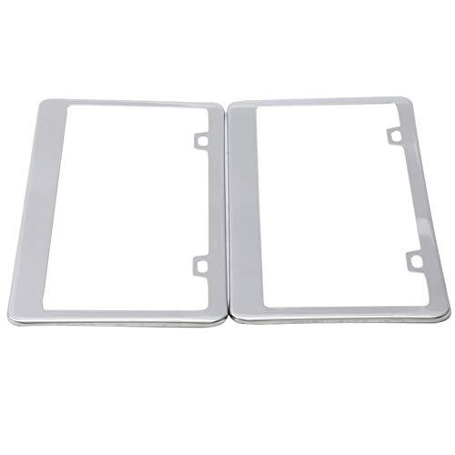 WEIHEEE 2 piezas marco de placa de matrícula de acero inoxidable 2 agujeros marco de matrícula piezas de modificación de coche