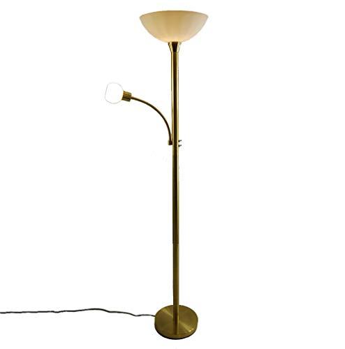 LED-Steh-Leuchte-Lampe mit Lesearm JOHANNA messing Glas weiß Fluter Stand-Lese-Wohnraum-Arbeits-Arbeitszimmer-Wohnzimmer-Leuchte-Lampe-Fluter LED austauschbar