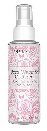 CLAIR BEAUTY Rosewater & Collagen Ultra Refreshing Facial Mist - W/Witch Hazel, 24K Gold & Collagen | Firming | Moisturizing | Revitalizing - 118mL