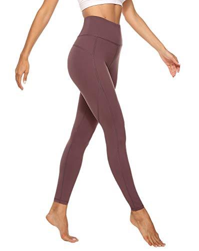 JOYSPELS Sporthose Damen Lang, Legging Damen High Waist, Braunrot, XL