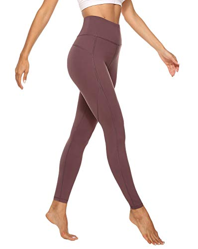 JOYSPELS Sporthose Damen Lang, Sport Leggins für Damen High Waist, Yoga Leggings Yogahose Sportleggins Tights, Braunrot, M