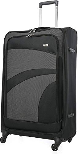 Aerolite Large Super Lightweight 4 Wheel Spinner Check-in Hold Luggage Suitcase Travel Trolley Case (Black/Grey 29 Inch)