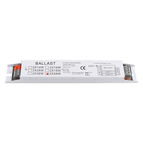 BELTI T8 220-240V AC 2x58W Balasto electrónico de Voltaje Amplio Balastos de lámpara Fluorescente
