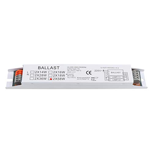 MINGSTORE T8 220-240V AC 2x58W Balasto electrónico de Voltaje Amplio Balastos de lámpara Fluorescente