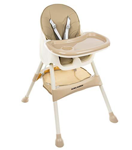 KRUZZEL Hochstuhl für Babys Verstellbar Klappbar Tisch 5-Punkt Gurt 12060, Farbe:Beige