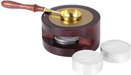 CODIRATO 4 Pezzi Strumento di Fusione per Timbri in Cera Kit Cucchiaio di Tenuta Strumento Forno a Cera con Stufa 7.8 * 4cm e 2 Candele 1 Cucchiaio 11.5 * 2.8cm per Ceralacca per Sciogliere Ceralacca