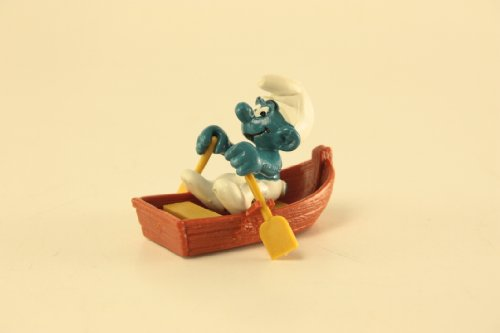 Puffo Schleich con barca a remi da collezione