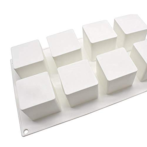 Dessert Formen Für Schokoladenkuchen EIS Jelly, Flexibilität 8 Quadratisches Loch Musi Xi Punkt Quadratische Silikonform Silikonplatten Falten Sie Ermöglicht,Weiß