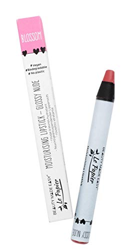 Beauty Made Easy Le Papier Vegan Moisturizing Plastic Free Lipstick with Shea Butter, Glossy Nudes BLOSSOM 6 g