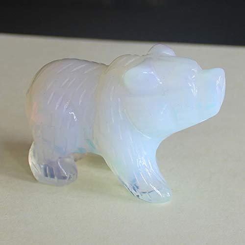 2'' Hand Carved Gemstone White opalite Bear Figurine Animal Carving