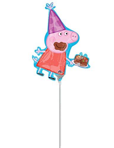 COOLMP – Lote de 12 Globos de Aluminio de Peppa Pig 25 x 33 cm – Talla única – Decoración Accesorios de Fiesta, animación, cumpleaños, Boda, Evento, Juguete, Globo
