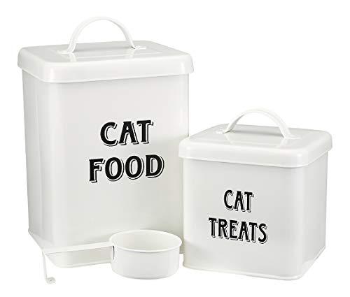 MOREZI Juego de recipientes para bocadillos y comida para mascotas con tapa y cuchara, tarro de almacenamiento de comida para gatos-Blanco