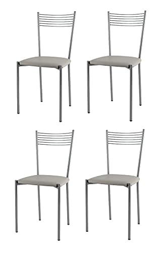t m c s Tommychairs - Set 4 sillas Elegance para Cocina, Comedor, Bar y Restaurante, Estructura en Acero Pintado de Color Aluminio y Asiento tapizado en Polipiel Color Gris Claro